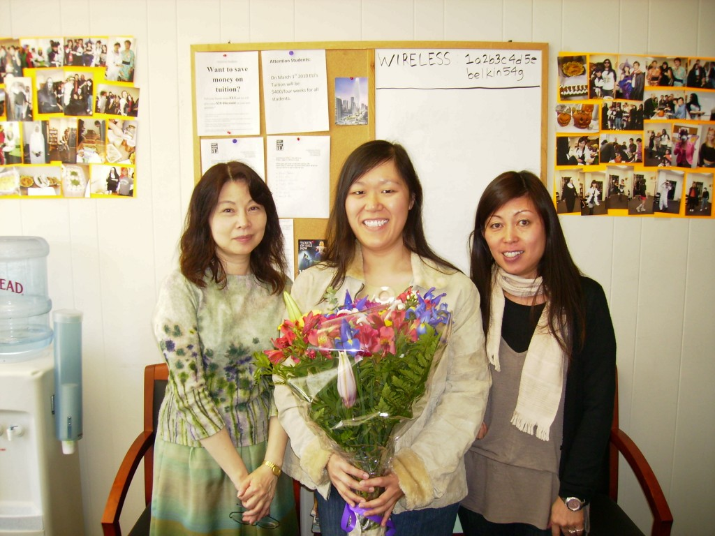 My last day at ELI in 2010; got flowers for my departure. I miss Rimi and Masako!