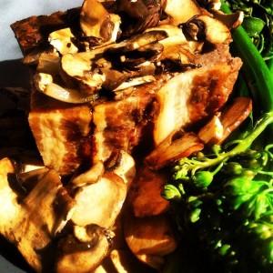 100% #GrassFed Wagyu beef meatloaf w/ #Organic criminis, broccolini, fresh herbs & demi-glace; YUM!